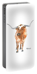 Longhorn 2 Runnin Wild Watercolor Painting By Kmcelwaine Portable Battery Charger by Kathleen McElwaine