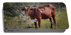 Portable Battery Charger featuring the photograph Longhorn #95 - Color by Tim Stanley