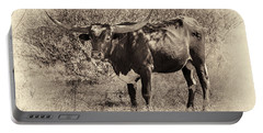 Portable Battery Charger featuring the photograph Longhorn #95 - Sepia #2 by Tim Stanley