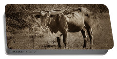 Portable Battery Charger featuring the photograph Longhorn #95 - Sepia by Tim Stanley