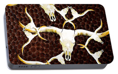 Longhorn Art - Cattle Call - Bull Cow Portable Battery Charger by Sharon Cummings