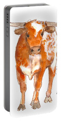 Texas Red Longhorn Watercolor Painting By Kmcelwaine Portable Battery Charger