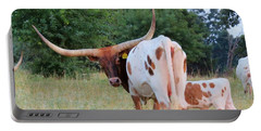 Portable Battery Charger featuring the photograph Longhorn Cattle by Robin Regan