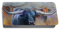 Longhorn Country Portable Battery Charger by Karen Kennedy Chatham