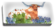 Longhorn In The Cactus And Bluebonnets Lh014 Kathleen Mcelwaine Portable Battery Charger by Kathleen McElwaine
