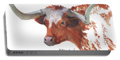 Longhorn Portrait Lh006 Watercolor Painting By Kmcelwaine Portable Battery Charger by Kathleen McElwaine