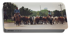 Longhorns On The Move Along Chisholm Trail  Portable Battery Charger