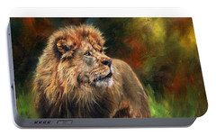 Portable Battery Charger featuring the painting Look Of The Lion by David Stribbling