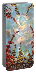 Portable Battery Charger featuring the painting Look Through The Trees by Joel Tesch