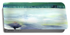 Portable Battery Charger featuring the painting Looking Beyond by Anil Nene