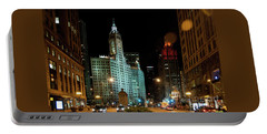 Looking North On Michigan Avenue At Wrigley Building Portable Battery Charger