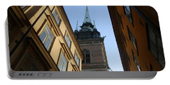 Looking Up From A Stockholm Street Portable Battery Charger by Margaret Brooks