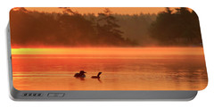 Loon And Chick At Sunrise Portable Battery Charger