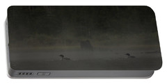 Loon And Moose In The Mist Portable Battery Charger