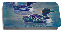 Portable Battery Charger featuring the painting Loon Lagoon by Teresa Ascone