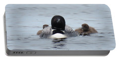 Portable Battery Charger featuring the photograph Loon With Chicks by Sandra LaFaut