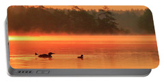 Loon With Young At Sunrise, Nova Scotia Portable Battery Charger