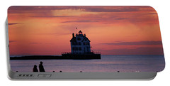 Lorain Lighthouse Sunset Portable Battery Charger