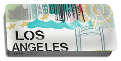 Los Angeles Cityscape- Art By Linda Woods Portable Battery Charger by Linda Woods