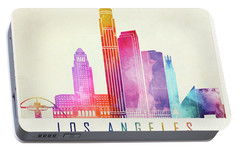 Los Angeles Landmarks Watercolor Poster Portable Battery Charger by Pablo Romero