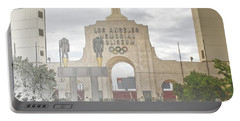 Portable Battery Charger featuring the digital art Los Angeles Memorial Coliseum  by Anthony Murphy