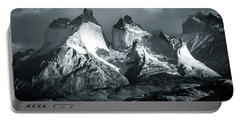 Los Cuernos In Black And White Portable Battery Charger by Andrew Matwijec