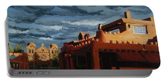 Portable Battery Charger featuring the painting Los Farolitos,the Lanterns, Santa Fe, Nm by Erin Fickert-Rowland