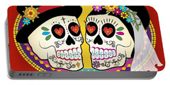 Los Novios Sugar Skulls Portable Battery Charger by Tammy Wetzel