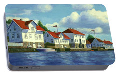 Portable Battery Charger featuring the painting Loshavn Village Norway by Janet King