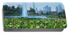 Lotus Blooms And Los Angeles Skyline Portable Battery Charger