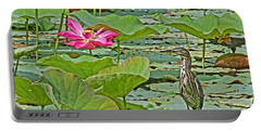 Lotus Blossom And Heron Portable Battery Charger by HH Photography of Florida