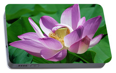 Portable Battery Charger featuring the photograph Lotus--center Of Being--protective Covering II Dl0088 by Gerry Gantt