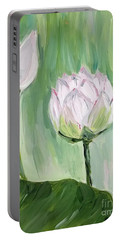 Portable Battery Charger featuring the painting Lotus Emerging by Maria Langgle