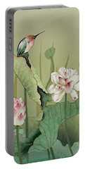 Lotus Flower And Hummingbird Portable Battery Charger