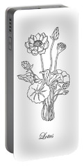 Lotus Flower Botanical Drawing Black And White Portable Battery Charger