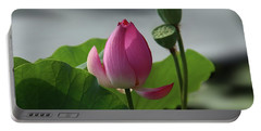 Lotus Flower In Pure Magenta Portable Battery Charger