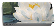 Portable Battery Charger featuring the painting Lotus by Maria Langgle