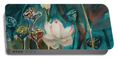 Portable Battery Charger featuring the painting Lotus Study I by Xueling Zou