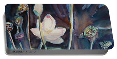 Portable Battery Charger featuring the painting Lotus Study II by Xueling Zou