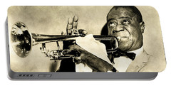 Portable Battery Charger featuring the digital art Louis Satchmo Armstrong by Anthony Murphy