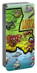 Louisiana Cartoon Map Portable Battery Charger