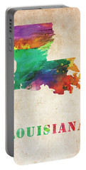 Louisiana Colorful Watercolor Map Portable Battery Charger