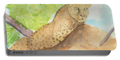 Portable Battery Charger featuring the painting Lounging Leopard by Vicki  Housel