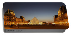 Portable Battery Charger featuring the photograph Louvre At Night 2 by Andrew Fare
