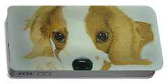Portable Battery Charger featuring the painting Lovable Puppy by Norm Starks