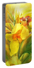 Portable Battery Charger featuring the mixed media Love Among The Orchids by Carol Cavalaris