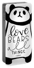 Portable Battery Charger featuring the mixed media Love Bears All Things by Nancy Ingersoll