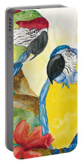 Portable Battery Charger featuring the painting Love Birds by Vicki  Housel