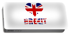 Love Brexit Portable Battery Charger by Roger Lighterness