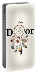 Portable Battery Charger featuring the painting Love Dior Watercolour Dreamcatcher by Georgeta Blanaru